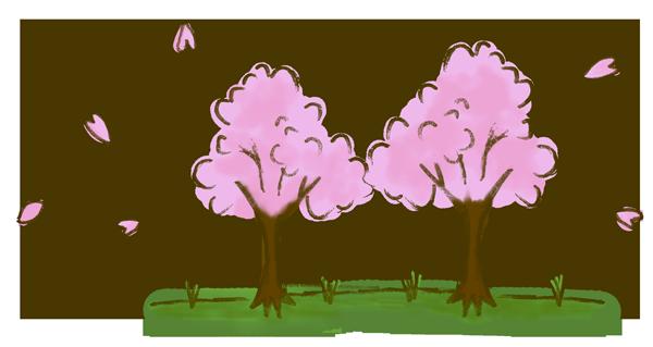 春っぽい桜の手書き風イラスト