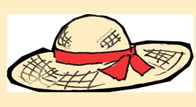 麦わら帽子手書き風イラスト