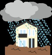 豪雨、大雨、災害、水害のイラスト