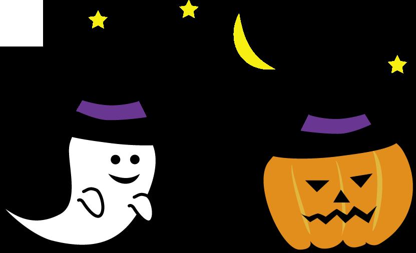 ハロウィン(かぼちゃ,コウモリ,おばけ)のイラスト