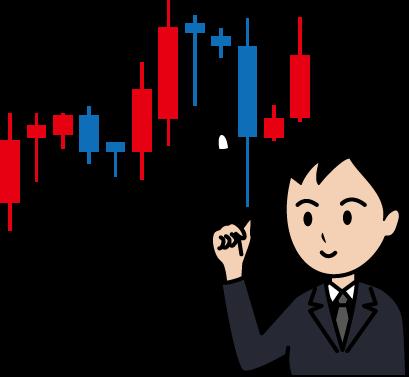 チャート・グラフ(株,FX,仮想通貨)と人物男性のイラスト