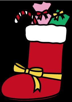 クリスマス-お菓子ブーツのイラスト
